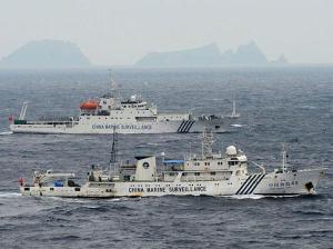 Chinese Coast Guard ships patrolling the disputed Senkaku/Diaoyu Islands
